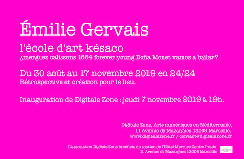 exposition Émilie Gervais, Digital Zone Marseille
